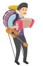 Man One Man Band Performer Illustration