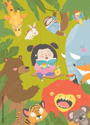 Little girl reading book with cartoon animal. Lion,tiger,giraffe,slot