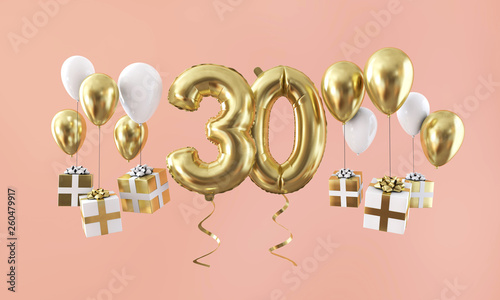 Tela  Number 30 birthday celebration gold balloon with presents