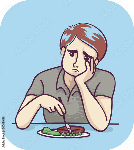Man Food Loss Appetite Illustration Canvas Print