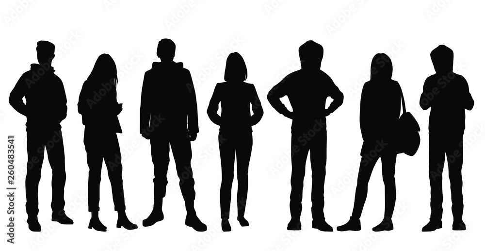 Fototapety, obrazy: Set of vector silhouettes of  men and a women, a group of standing business people, black color isolated on white background