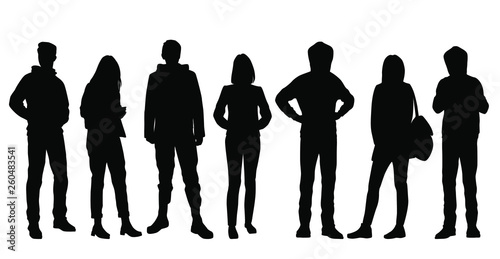 Obraz Set of vector silhouettes of  men and a women, a group of standing business people, black color isolated on white background - fototapety do salonu