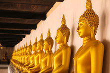 Golden Buddha Statue At Wat Phutthaisawan Temple In Ayutthaya, Thailand.