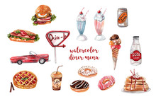 Retro Diner Menu. Burger, Hot Dog, Soda, Milkshakes, Ice Cream, Berry Pie, Donuts, Coffee. Collection Of Watercolor Illustrations On White Isolated Background