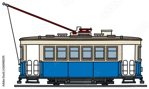 Fotografija  The vectorized hand drawing of a classic blue and white tramway