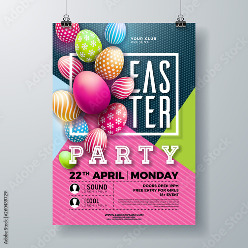 Fototapety, obrazy: Vector Easter Party Flyer Illustration with painted eggs, spring flower and typography elements on nature blue background. Spring holiday celebration poster design template.