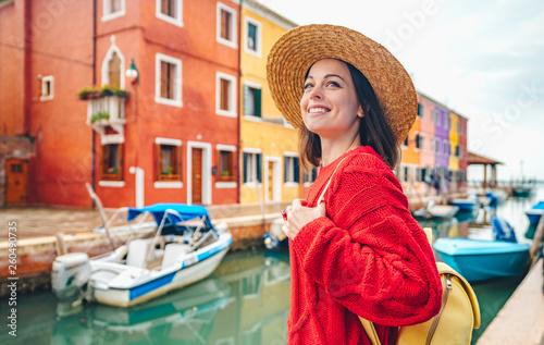 Fototapeta Smiling beautiful girl in Italy obraz