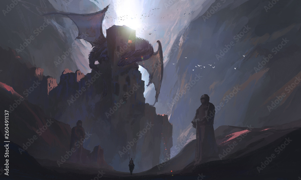 The knights in the canyon challenge the dragon, digital painting.