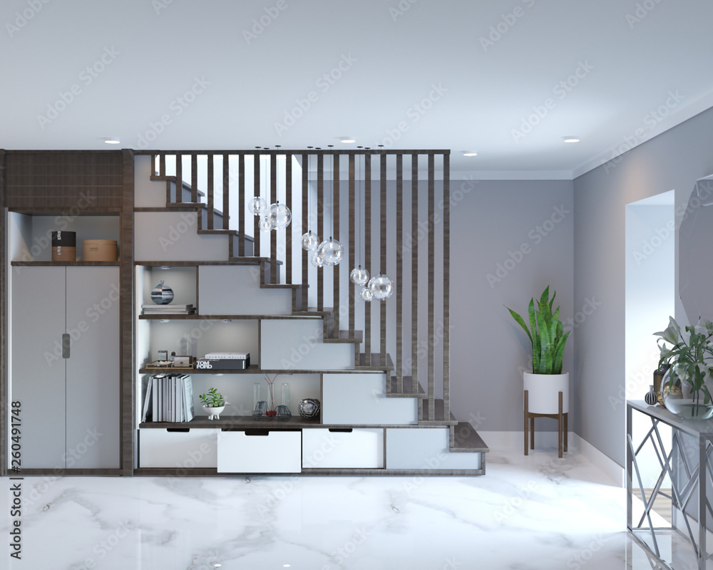 Fototapety, obrazy: 3d rendering of loft hall interior with stairs