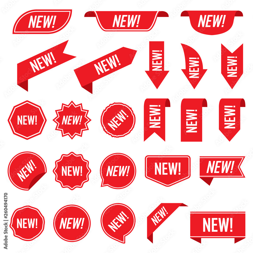 Fototapety, obrazy: Set of new red labels isolated on white background