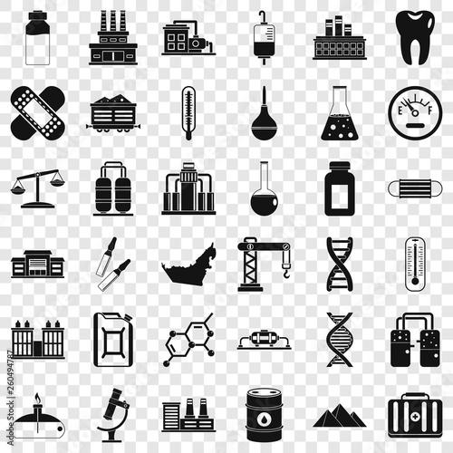 Fotografia  Chemical industry icons set