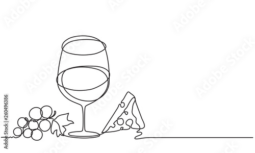 Fototapeta Wine glass, cheese, fruit, grape. Vector. Drawing by continuous line. Doodle. Sketch.. obraz