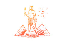Egypt, Pyramid, Sphinx, Ancient, Desert Concept. Hand Drawn Isolated Vector.