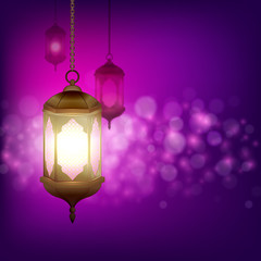 Islamic lanterns for Muslim Community festival. Bright beautiful arabic lamps on bokeh background. Graphic design element for greeting card, invitation, flyer, banner. Vector illustration.