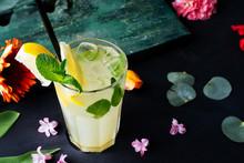 Top View Of Freshh Lemonade In...