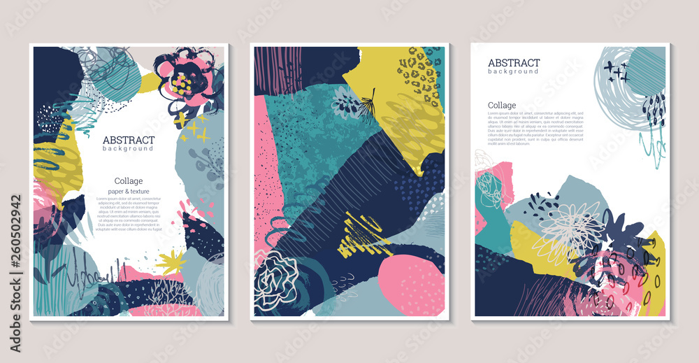 Fototapeta Vector collection of trendy creative cards with cut paper, floral elements and different textures.