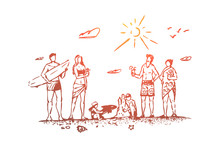 Family, Beach, Summer, Sand, People Concept. Hand Drawn Isolated Vector.