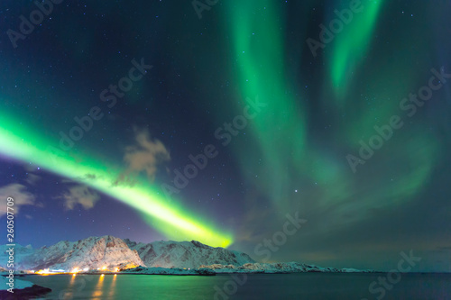 Poster Aurore polaire Northern lights in Norway in the Lofoten Islands