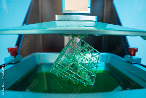Fotografie, Obraz  Stereolithography photopolymer  DPL 3d printer