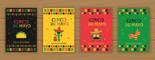 Set Of Cinco De Mayo Party Poster Template. Festive Vector Illustration With Native Pinata, Taco And Mariachi, Cocktail Face And Garland Flags For Traditional Mexican Celebration On Cinco De Mayo.