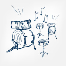 Drum Set Sketch Vector Illustration Isolated Design Element