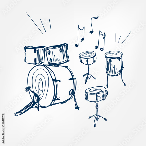 Photographie drum set sketch vector illustration isolated design element