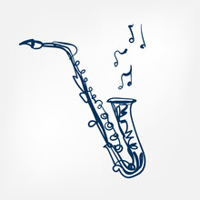 Saxophone Sketch Vector Illustration Isolated Design Element