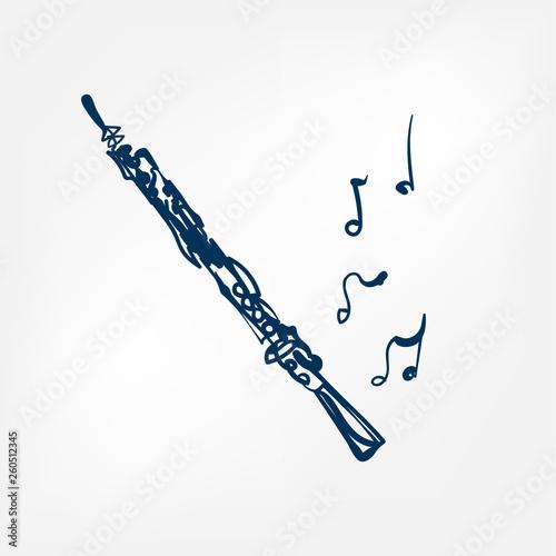 Photo oboe sketch vector illustration isolated design element