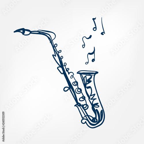 Fényképezés saxophone sketch vector illustration isolated design element