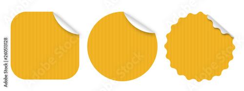 Fotografie, Obraz  Etiquettes kraft jaunes / 3 formes - Vecteur
