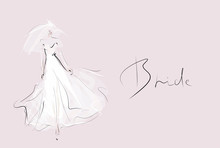 Young Beautiful Bride In White Dress. Hand-drawn Fashion Illustration. Sketch, Vector