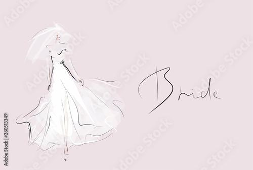 Fotografia Young beautiful bride in white dress