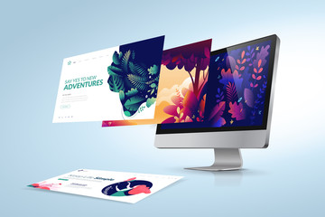 Web design template. Vector illustration concept of website design and development, app development, seo, business presentation, marketing.