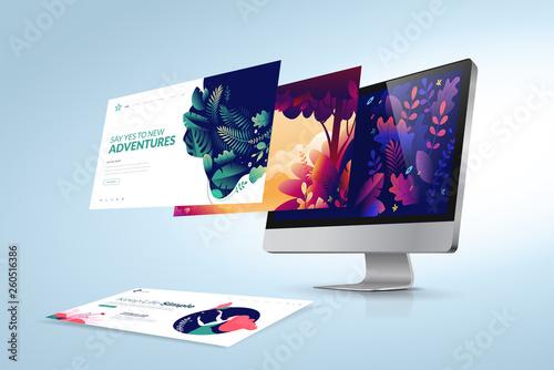 Fototapeta Web design template. Vector illustration concept of website design and development, app development, seo, business presentation, marketing. obraz