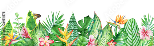 Watercolor seamless pattern with tropical leaves, plants and flowers