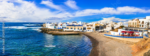 Scenic colorful traditional village El Cotillo with great beach. Fuerteventura. Canary islands