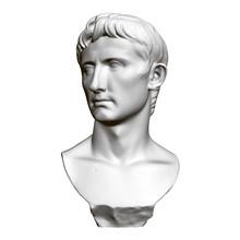 Sculptural Portrait Of Octavian August. Front View. 3D. Polygonal Bust Of Octavian Augustus. Vector Illustration