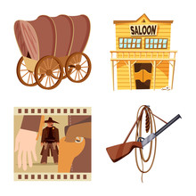Isolated Object Of Wild And West Logo. Set Of Wild And American Stock Vector Illustration.