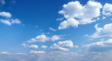 Blue Sky With White Clouds. Blue Sky Background With Clouds.