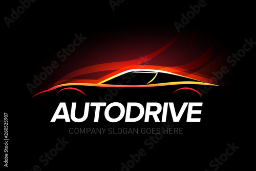 Autodrive Car Logotype With Fire Background Car Service And Repair