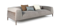 Modern Gray Fabric Sofa With Legs And Pillows On Isolated White Background. Furniture, Interior Object.