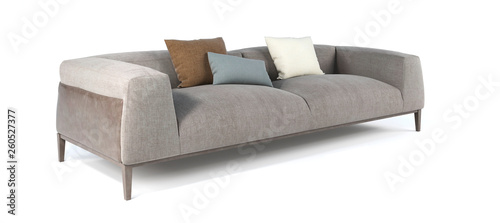 Modern gray fabric sofa with legs and pillows on isolated white background Poster Mural XXL