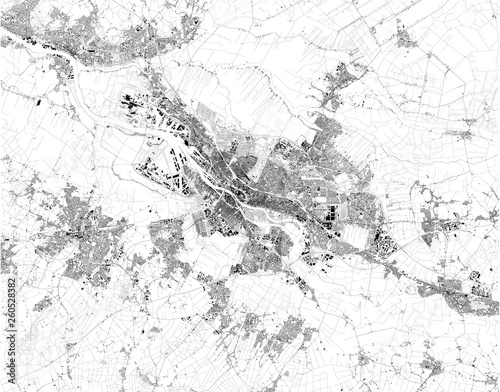 Satellite map of the City Municipality of Bremen, it is a Hanseatic city in northwestern Germany. City streets and buildings of the town Wall mural