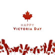 Victoria Day In Canada Vector Illustration, Realistic Rippling Canadian Flag