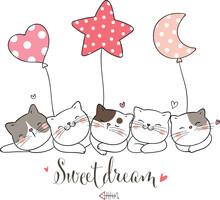 Draw Cat Sleeping With Cute Balloon