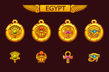 Vector Egyptian Talismans With Scarab, Eye, Flower And Cross. Olden Egypt Golden Amulet With Colored Precious Gems. On Separate Layers.