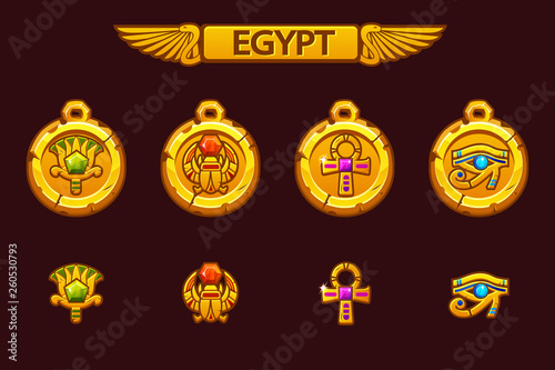 Vector Egyptian talismans with Scarab, Eye, flower and Cross Canvas Print