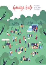 Flyer Or Poster Template For Garage Sale, Outdoor Festival, Summer Fair With Food Trucks, People Buying And Selling Clothes In Park. Flat Cartoon Vector Illustration For Event Announcement, Promo.