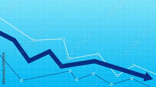 Fotografía  Stock or financial market crash with blue arrow