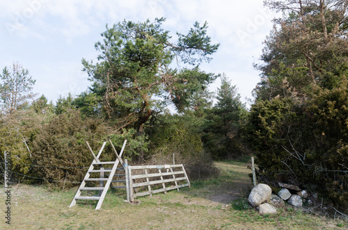 Fotografie, Obraz  Wooden stile and an open wooden gate in the countryside